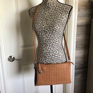 Handbags - Saddle Brown Basketweave Crossbody or Clutch